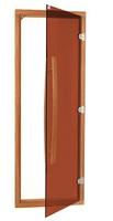 Дверь Sawo с вертикальной ручкой стекло/кедр