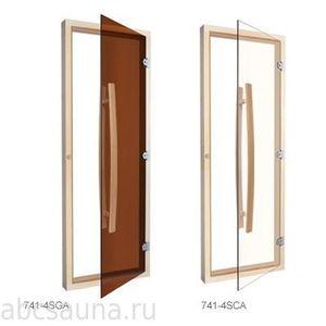 Дверь Sawo стеклянная с вертикальной ручкой